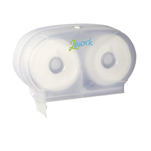 2Work Micro Twin Toilet Roll Plastic Dispenser White DIS840 Additional Image 1