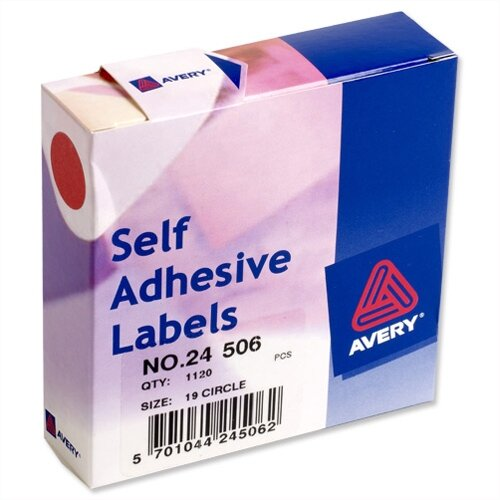 Avery Round Red Label Dispenser Diam 19mm 24-506 1120 Labels