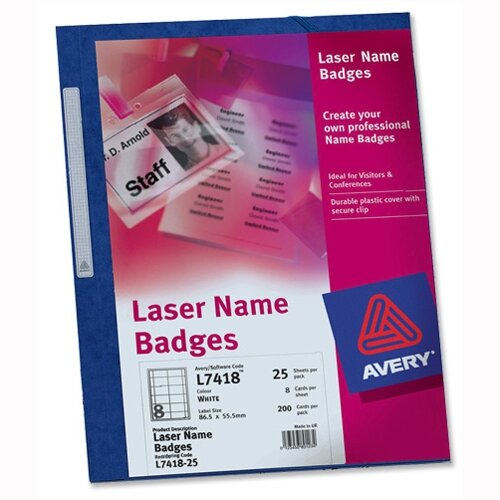 avery name badge kit laser w86 5xh55 5mm l7418 25 sheets huntoffice ie
