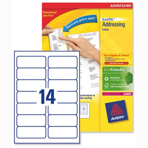 Avery L7163-40 Laser Address Labels 14 Per Sheet 99.1x38