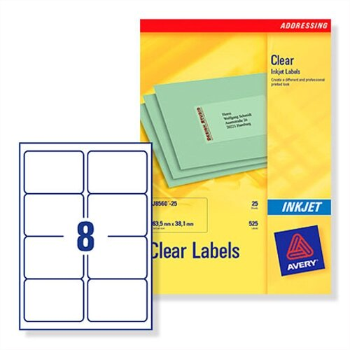 avery 8 per sheet clear label pack of 200 buy online at huntoffice ie