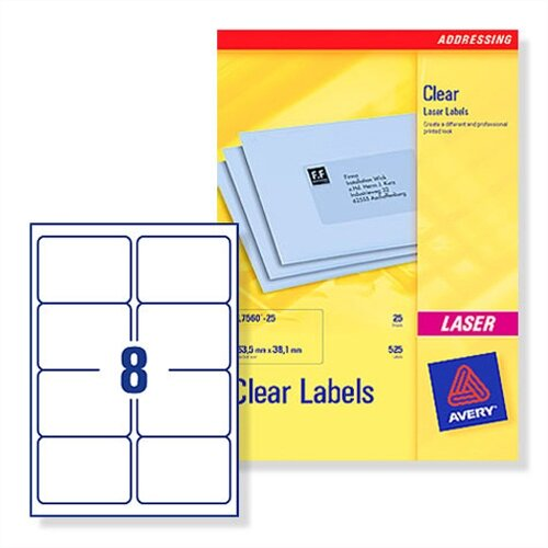 Avery L7565-25 Clear Address Labels Laser 8 per Sheet 99.1 x 67.7mm 200 Labels