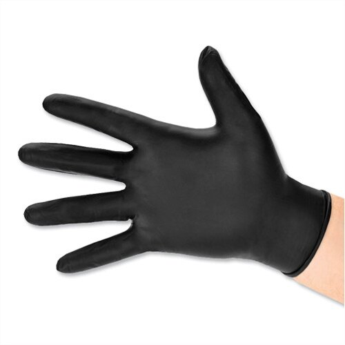 Polyco BG Nitrile Work Gloves Abrasion-resistance Rolled-cuff Large Black Ref GL8973 [Pack 100]