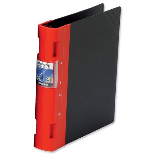 Guildhall GLX Ergogrip A4 Red 4 Prong Binder 80mm Pack 2
