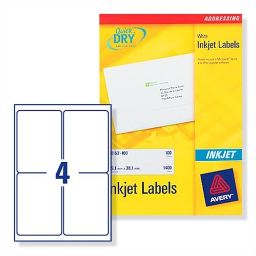 Avery White Quickdry Inkjet Labels 4 Per Sheet Pack Of 100