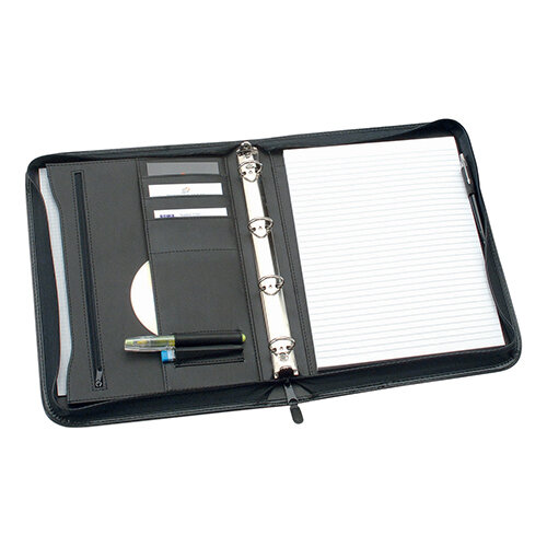Zipped Conference Ring Binder Capacity 25mm Leather Look A4 Black 5 Star