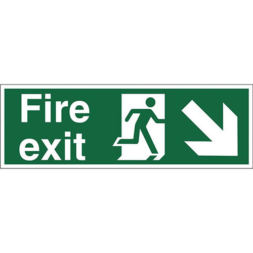 Man Arrow Down Right Fire Exit Sign Standard Luminescent SP081PVC