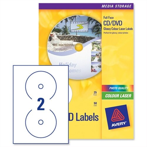 avery cd dvd labels laser 2 per sheet photo quality glossy