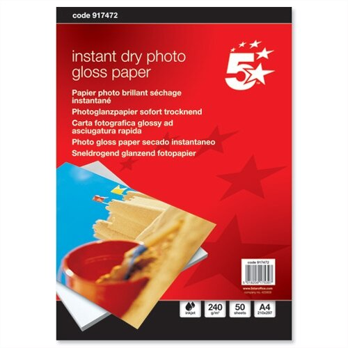A4 Gloss Photo Paper Inkjet 240gsm 50 Sheets 5 Star