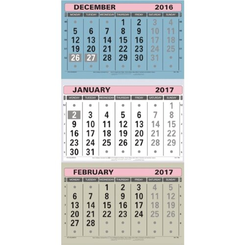 At-a-Glance Large Wall Calendar 3 Month To View 2017 TML ...