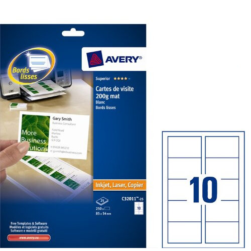 Avery C32011 25 Business Cards Laser 85 X 54mm 10 Per Sheet 200gsm