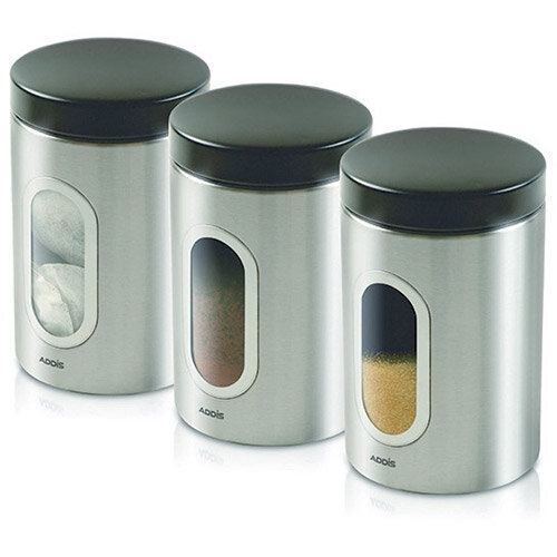 stainless steel kitchen canister kitchen canisters set of 3 silver stainless steel 22166