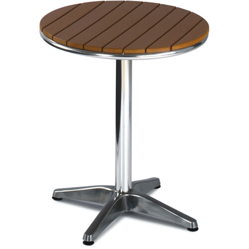 round outdoor patio table slatted teak wood effect top and aluminium