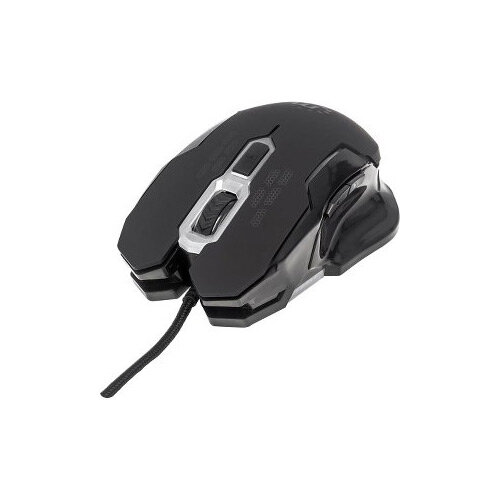 Manhattan Computer Mouse Optical Cable 6 Button s Black Silver Non-Slip USB  2400 dpi MAC Scroll Wheel Right-handed Only