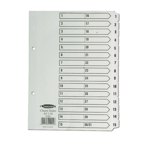 Concord Classic Mylar Index A5 1-31 White 01002 - HuntOffice ie