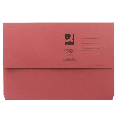 Red Guildhall 285gsm Document Wallets Foolscap A4 Paper Storage Folders Pack of 30