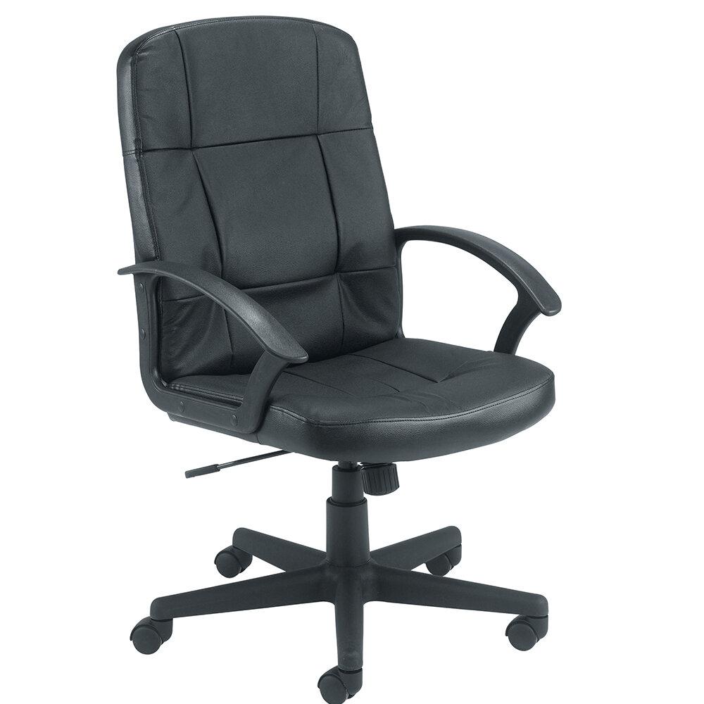 office leather chair. Play Video. Jemini Medium Back Leather Look Executive Office Armchair Black Chair G