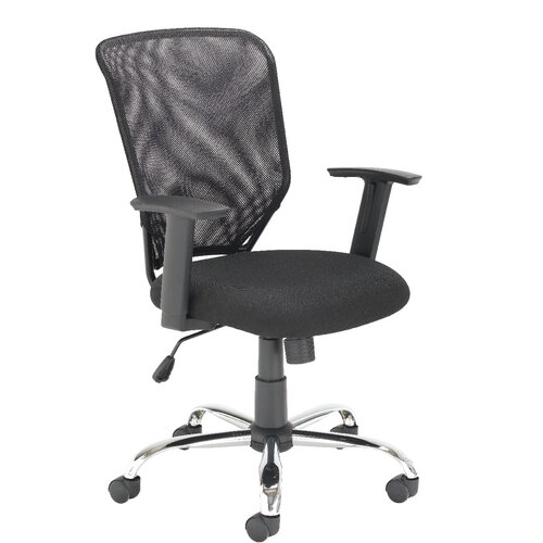 Mesh Back Office Chair With Arms U0026 Chrome Base Black