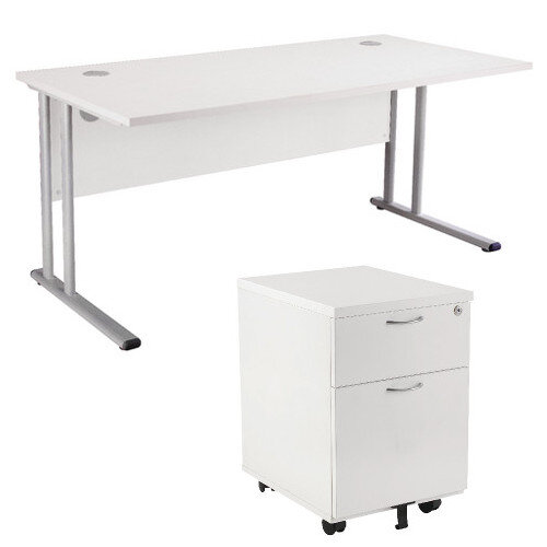 BUNDLE OFFER Rectangular 1600mm Wide Office Desk In White With 2 Drawer  Pedestal U2013 Cable Management