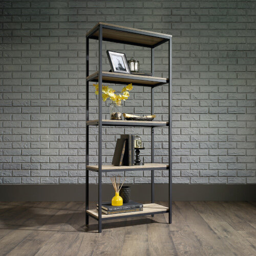 Industrial Style Home Office 4 Shelf Bookcase In Charter Oak Effect