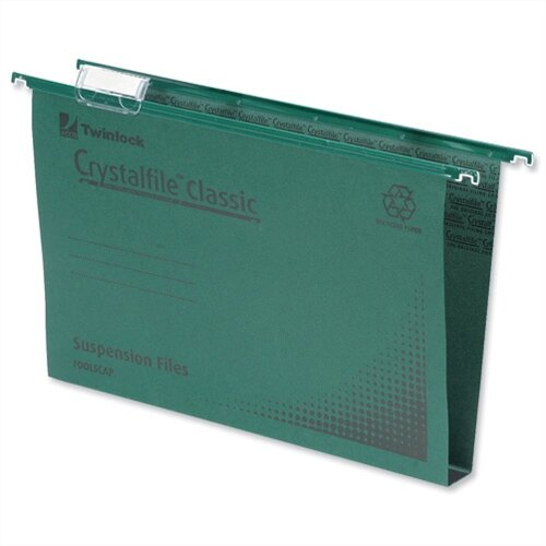 Twinlock crystalfile suspension file green 50mm foolscap for Suspension fille