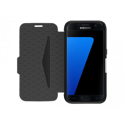 competitive price 4cf70 662e3 OtterBox Strada Samsung Galaxy S7 - Flip cover for mobile phone - leather -  onyx black - for Samsung Galaxy S7