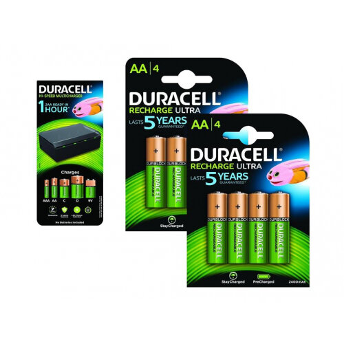 d3a9719f304 Duracell BUN0101A - Battery charger - with 4 x AA NiMH 2400 mAh rechargeable  batteries