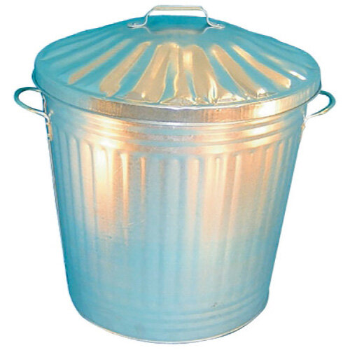 Galvanised Dustbin with Lid 90 Litre - Manufactured from galvanised steel -  Comes complete with a matching lid - Ideal for heavy duty waste and