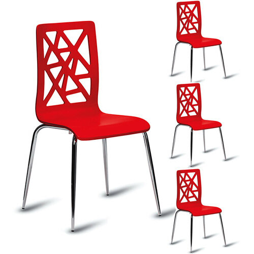 Enjoyable Ziggy High Gloss Red Cafe Side Chair Pack Of 4 Interior Design Ideas Clesiryabchikinfo