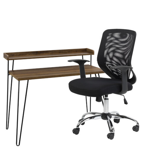 Home Office Bundle Haven Retro Home Office Desk With Riser Walnut Alphason Mesh Office Chair Atlanta Black Huntoffice Ie