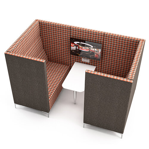 meeting pod huddle cave with grey exterior red checkered. Black Bedroom Furniture Sets. Home Design Ideas