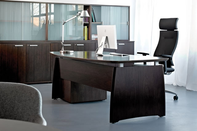 Intuition exeucutive desk dark walnut