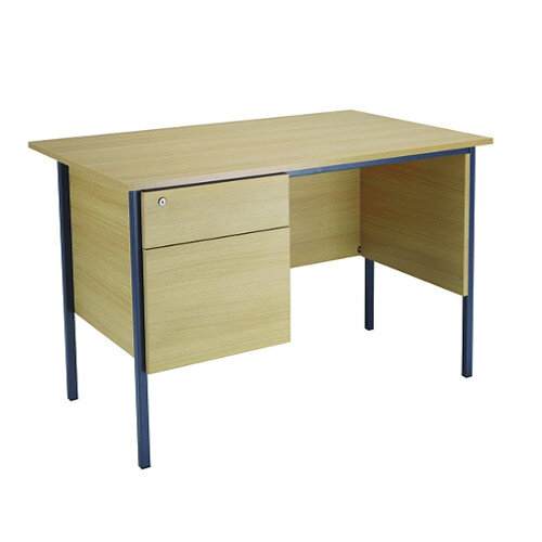 Jemini Intro W1200mm 4 Leg Office Desk With 2 Drawer Fixed