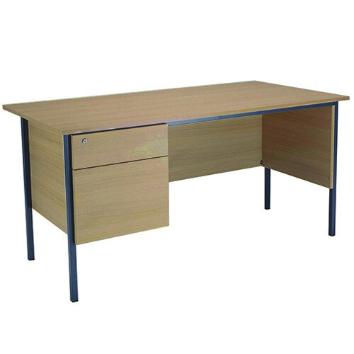 Jemini Intro W1500mm 4 Leg Office Desk With 2 Drawer Fixed