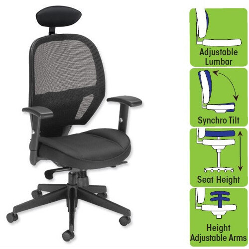 Astounding Influx Amaze Mesh Task Operator Black Office Chair Headrest Lumbar Support Adjustable Arms Height Adjustable Seat Syncro Tilt Perfect For Home Interior And Landscaping Transignezvosmurscom