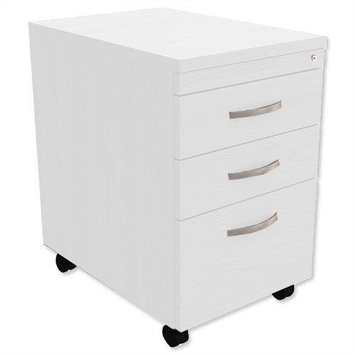 filing pedestal mobile tall under desk 3 drawer white kito. Black Bedroom Furniture Sets. Home Design Ideas