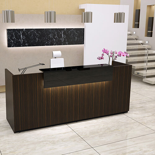 Libra Straight Formation Reception Desk Zebrano Wild