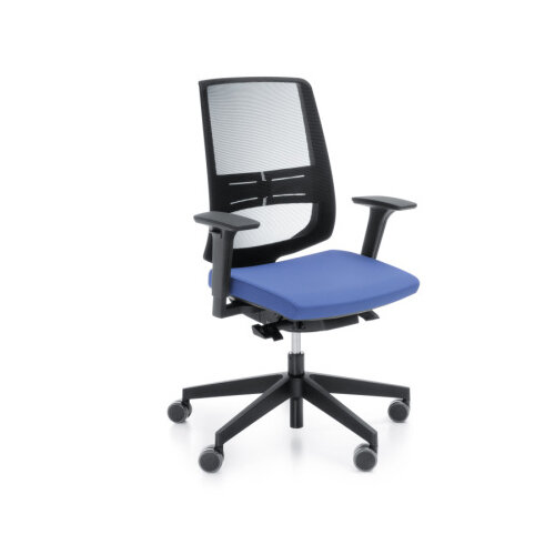 lightup modern design mesh office chair with lumbar support adjustable arms blue fabric seat. Black Bedroom Furniture Sets. Home Design Ideas