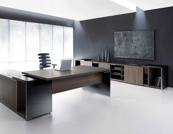 Mito executive desk & storage unit in dark sycamore finish