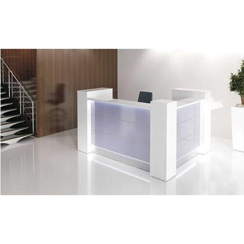 Valde Small L Shaped Reception Unit Modern High Gloss