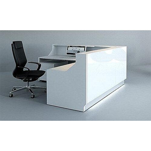 low cost 9b7e6 de2ed Linea Minimalist Design L-Shaped Reception Desk Unit Gloss ...