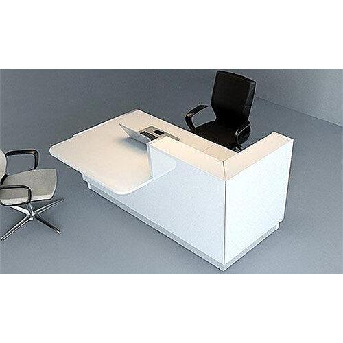 Linea Minimalist Design Small Reception Desk Gloss White