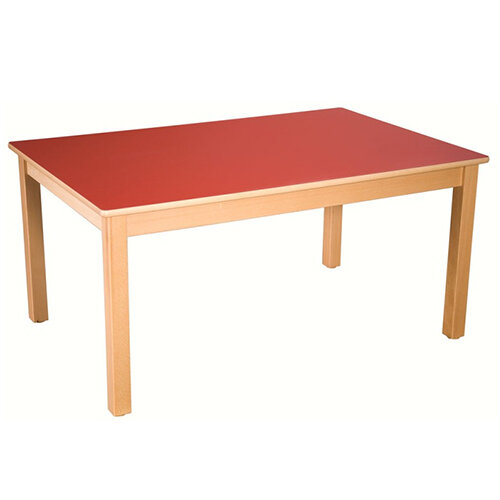Rectangular Primary School Table Beech Red 120x60cm 64cm High
