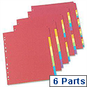 Concord Bright Subject Dividers Europunched A4 6-Part Assorted
