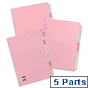 Concord Subject Dividers 5-Part Assorted A4