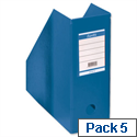 Blue Magazine Rack File Jumbo Plastic A4 110mm Pack 5 Bantex Concept