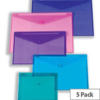 Snopake Polyfile Electra Foolscap Wallet File Assorted Pack 5