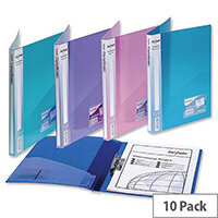 Snopake Electra A4 Assorted Clamp Binder Polypropylene for 100 Sheets 80gsm 12790 Pack 10