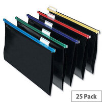 Snopake Foolscap Suspension Files Plastic Assorted with Tabs Pack 25 -  made from durable black polypropylene - Smooth gliding, colour-coded plastic rails - Contains 5 each of blue, green, purple, red and yellow trim