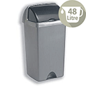 Tall Plastic Waste Bin 48 Litres Capacity Roll Top Metallic Silver 9716MET